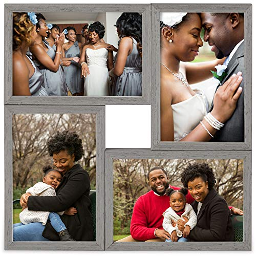 VonHaus 4X Decorative Collage Picture Frames Multiple 4x6 Photos - Grey Wooden Hanging Wall Photograph Frame 9 Openings - Ideal as Personalized Gift for Friends and Family