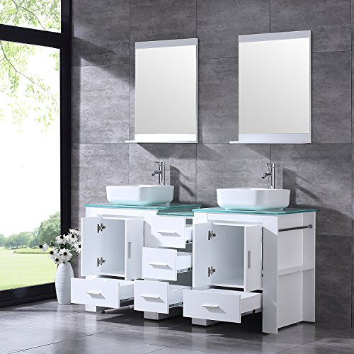 "BATHJOY Luxury 60"" White Bathroom Double Wood Vanity Cabinet with Square Ceramic Vessel Sink and Mirrors Faucet Drain Combo by BATHJOY (Image #2)"