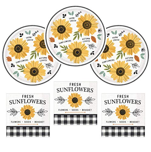 Sunflower Party Supplies (Sunflower Party Supplies Fall Harvest Theme Paper Plates and Napkins Serves 32)