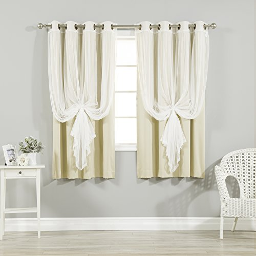 """Best Home Fashion Mix & Match Tulle Sheer Lace & Blackout Curtain Set - Antique Bronze Grommet Top - Beige - 52""""W X 63""""L - (2 Curtains and 2 Sheer curtains)"""