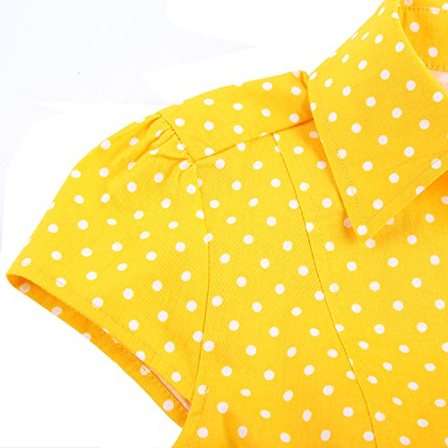 Party BI Sleeve Retro Swing Vintage TENCON Dress Cap Yellow Women's Style 1950s zqpwZzr4