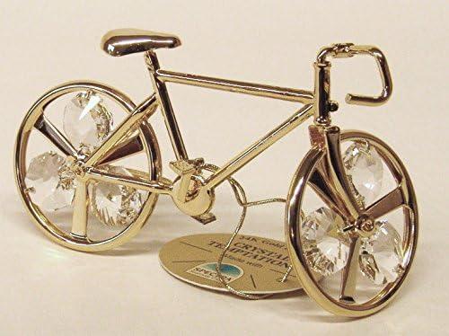 Swarovski Components - CRYSTAL TEMPTATIONS - bicicleta de montaña, bicicletas de montaña en oro - cristales de Swarovski - 24 quilates de oro-Plateado - colour - Medidas: 10,5 cm x 5,5 cm: Amazon.es: Hogar