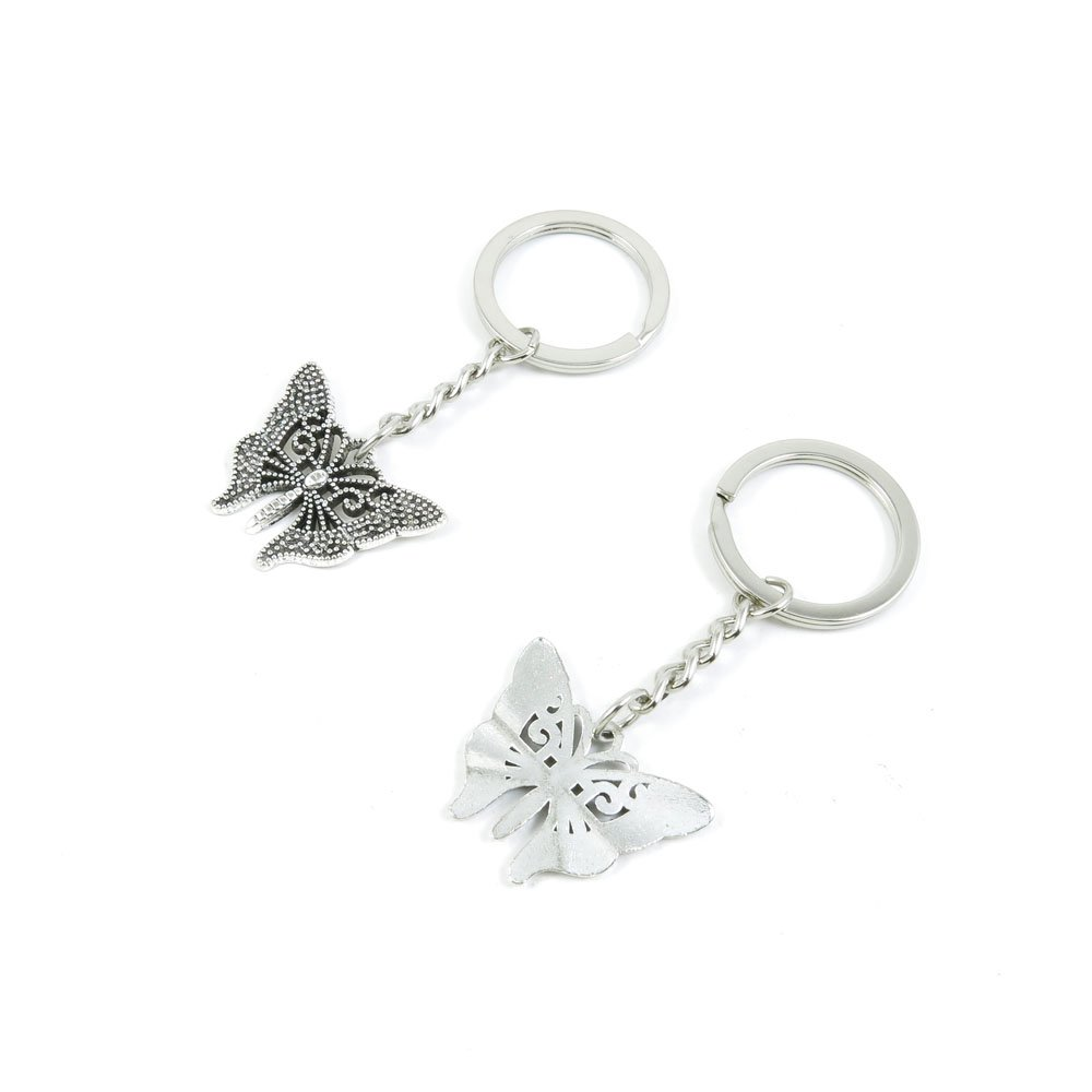 100 Pieces Keychain Door Car Key Chain Tags Keyring Ring Chain Keychain Supplies Antique Silver Tone Wholesale Bulk Lots D6KU2 Butterfly