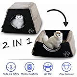 PET GROW 2 in 1 Cat Bed Cave House for Hamster Squirrel Small Animal, Cozy Pet Cat Sofa- Fade Resistance, Non Skid Kittens Bed Cat Condo Pet Bed,Black