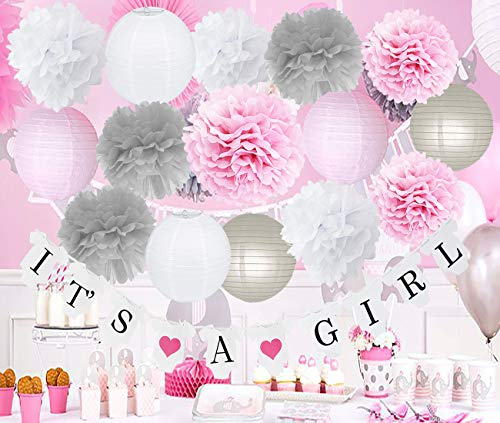 Furuix Pink Grey Baby Shower Decorations Girl Birthday Decoration Pink Grey Tissue Paper Flower/It's A Grirl Banner for Baby Shower Decorations -