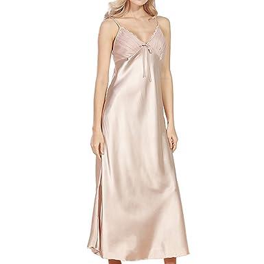 fe830ec71385d Evedaily Womens Sexy Sleepwear Satin Silk Pajamas Lace V-Neck Nightwear  Spaghetti Strap Full Length Nightdress Plus Size: Amazon.co.uk: Clothing