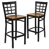 Flash Furniture 2 Pk. HERCULES Series Black Window Back Metal Restaurant Barstool - Cherry Wood Seat