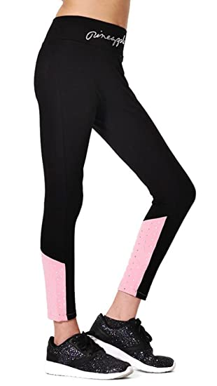 6f5d0e35a05e Pineapple DANCEWEAR Girls Dance Leggings Black with Pink Panels and ...
