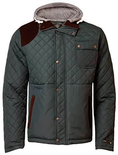 (Dissident Men's Hodded Padded Quilted Jacket Hunter Style Lined Cord Patches Medium)