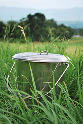 Tip 15 Degree Rolled Edge (Stainless Steel Milk Pail Bucket with Lid, Handle, and Open Lip Edge, Also Good for Compost (7 Qt Pail with Lid))