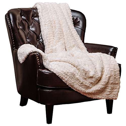 """Price comparison product image Chanasya Super Soft Warm Elegant Cozy Fuzzy Fur Fluffy Faux Fur with Sherpa Stone Embossed Pattern Ivory Creme Microfiber Throw Blanket (50"""" x 65"""") -Ivory White"""