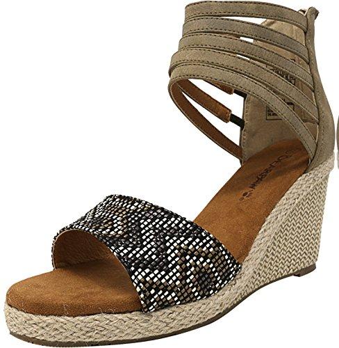 BEARPAW Womens Calla Wedge Sandal Ivory Size 7 Embossed Leather Wedge Sandal