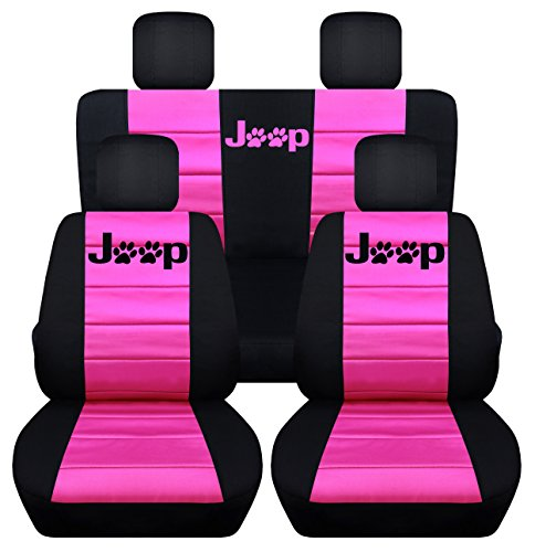 (Designcovers Fits 2013 to 2017 Jeep Wrangler 4 Door Paw Print Seat Covers 21 Color Options (Black and Hot Pink))