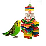 Hypeety Parrot Wood Chew Toy Bird Bite Block Swing Toy for Bird Parrot Macaw African Greys Cockatoo Eclectus Budgies Parakeet Cockatiel Conure Lovebirds Cage Natural Wood Toy