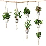 Eloka Set of 4pcs Macrame Plant Hanger Cotton Rope Wall Hanging Flower Pot Holders with Key Ring for Home Ceiling Balcony Decoration,Rice White