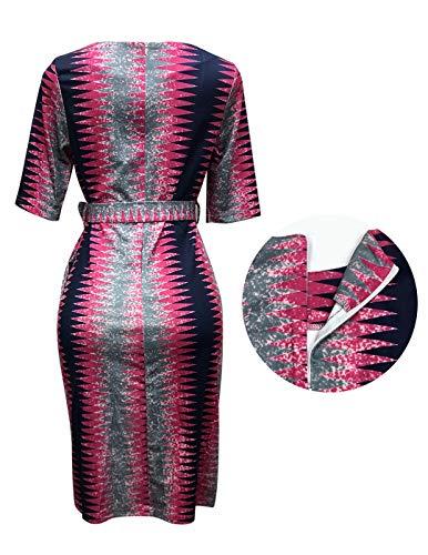 SHUNWEI Women's Business Wear to Work Short-Sleeved Bodycon Pencil Dress with Belt