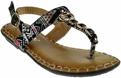 74b118328cd7 Link Proud 1K Little Girls Aztec Gladiator Gemstone Comfort Flat Sandals