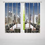 TecBillion Bedroom Curtains,Modern Decor for Living Room,Business Office Conference Room Table Chairs City View at Dusk Realistic,103Wx62L Inches