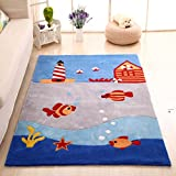 MAXYOYO Boys and Girls Cartoon Carpet Thicken Little Fish Pattern Kids Bedroom Soft Carpet Children's Rugs 39 by 59 Inch