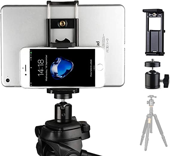 2in1 Universal Tripod Stand Bracket Holder Clip Mount For ipad Cell Phone