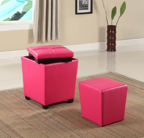 Roundhill Furniture 2-in-1 Storage Ottoman with Stool, Hot Pink