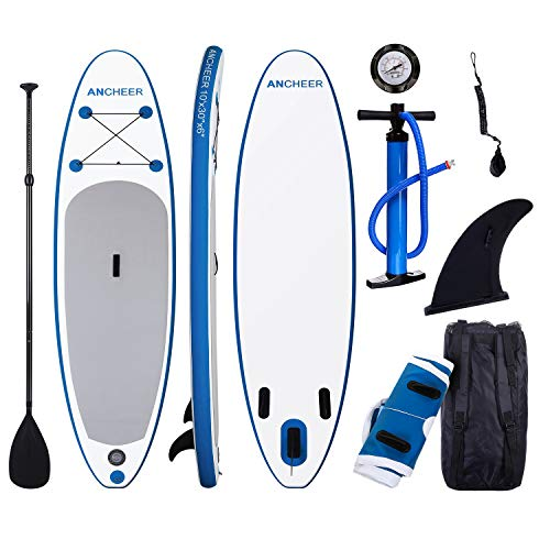 (ANCHEER Inflatable Stand Up Paddle Board 10', Non-Slip Deck(6 Inches Thick), iSUP Boards Package w/Adjustable Paddle, Leash, Hand Pump and Backpack, Youth & Adult)