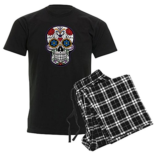 Truly Teague Men's Dark Pajamas Floral Sugar Skull Day Of The Dead - Black Checker, 2X