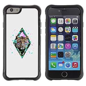 LASTONE PHONE CASE / Suave Silicona Caso Carcasa de Caucho Funda para Apple Iphone 6 PLUS 5.5 / diamond cheetah leopard glitter grey