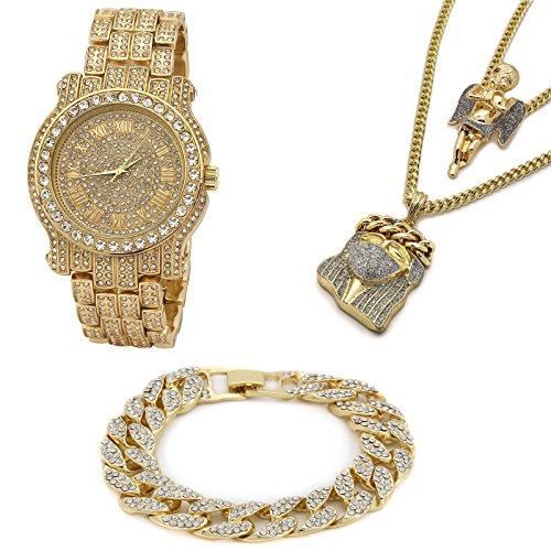 Men's 14k Gold Plated Mask Jesus Face & Angel SI Stardust Pendant Iced Out Bundle Fully Cz Watch & Bracelet Set