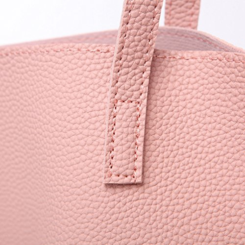 PU Top with Tote Pink Work 30cm for Shoulder Bags Shopper 10 Tassels Large Handle Bag Handbags Silver Capacity Maternity LINNUO Leather Womens 36 qWw4xAqzp