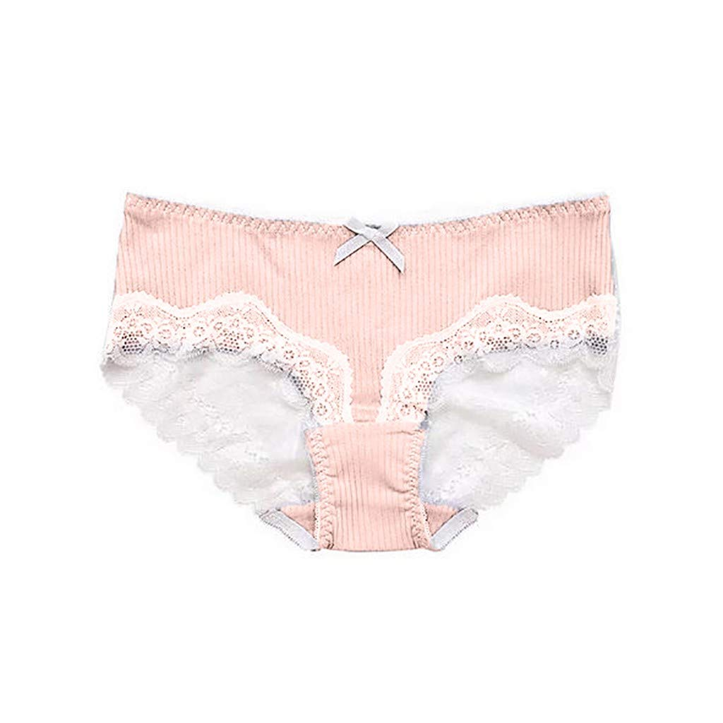 Lethez Sexy Lingerie for Women Floral Lace Underwear Color Blocking Patchwork Screw Thread Panties Briefs (Free Size, Pink)