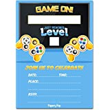 Video Games Party Invitations with Envelopes (15 Pack) - Kids Birthday Invitations for Boys or Girls - Video Game Party Decorations Supplies