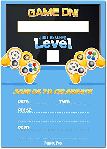 Video Game Party Invitations with Envelopes (15 Pack)