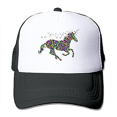 MZONE Unisex Snapback Cap Hats Rainbow Unicorn Baseball Cap Hat Black Black