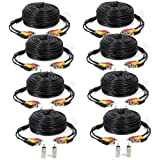 ATC 8 PACK black 100ft Feet AV Video Audio & Power BNC Cable for CCTV Video Security Surveillance Camera with 2 RCA Male to BNC Female Connectors 3JG