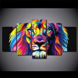 [LARGE] Premium Quality Canvas Printed Wall Art Poster 5 Pieces / 5 Pannel Wall Decor Colorful Lion Painting, Home Decor Pictures - With Wooden Frame