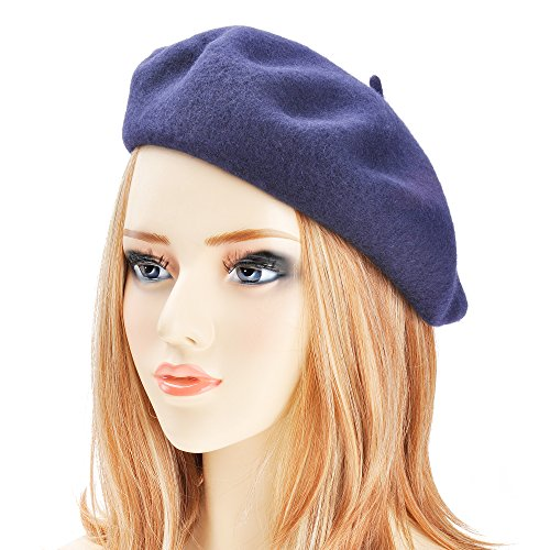 ZLYC Wool Beret Hat Classic Solid Color French Beret for Women (Navy Blue) -