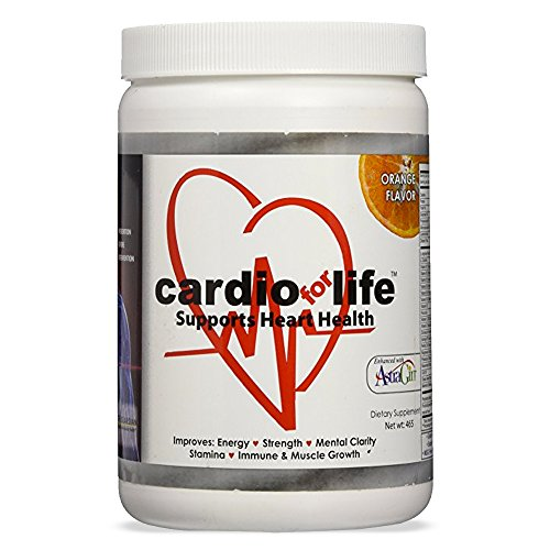 Cardio for Life L-Arginine Powder 16oz - Orange - Natural Nitric Oxide Supplement for Cardiovascular Health - Regulate Cholesterol & Blood Pressure - Increase Energy ()