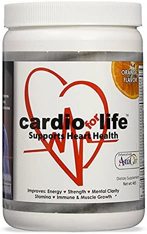 Cardio for Life L-Arginine Powder 16oz - Orange - Natural Nitric Oxide Supplement for Cardiovascular Health - Regulate Cholesterol & Blood Pressure - Increase Energy