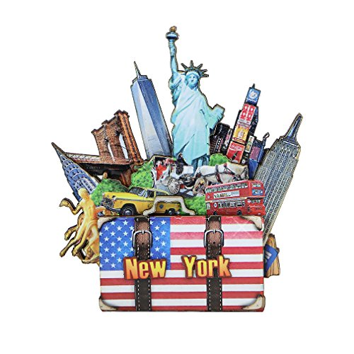 New York City Magnet 3D NYC Landmarks Multi Layered Pressed Wood