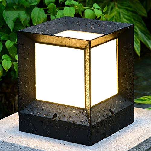Rishx Professional Outdoor Waterproof Landscape Column Light Energy Saving LED Rustproof Die-cast Aluminum Patio Post Light Square Fence Guardrail Doorway Porch Pillar Lamp (Size : ()