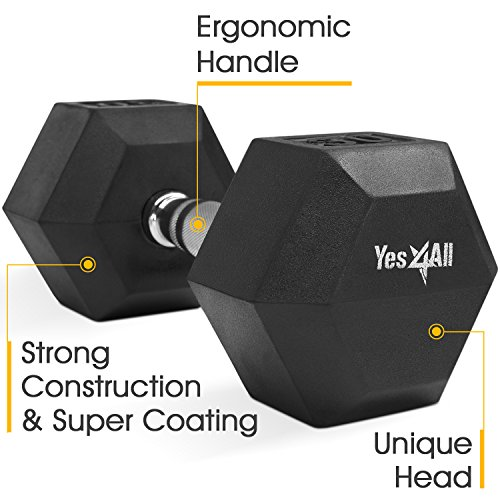 Yes4All 30 lbs Rubber Coated Hex Dumbbell w/ Ego Handle
