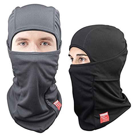 Dimples Excel Balaclava Motorcycle Tactical Skiing Face Mask [2 PACK] (Black + Grey) - Winter Balaclava