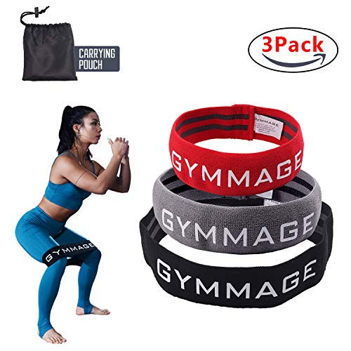 GYMMAGE Hip Resistance Band, Resistance Bands for Legs and Butt, Anti Slip Elastic Fitness Sports Booty Bands Heavy Training Leg Glute Wide Exercise Resistance Bands Soft & Fabric Hip Bands Set of 3
