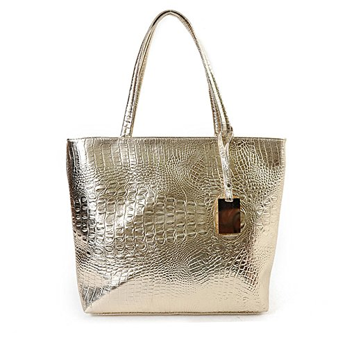 Bags Style Modern Shoulder Handbag Capacity Womens Saddle Leather Shopping Lady Crocodile Body Valentoria silver Bag Cross Purse Big Woman Gold Tote Women's w74I8qHX
