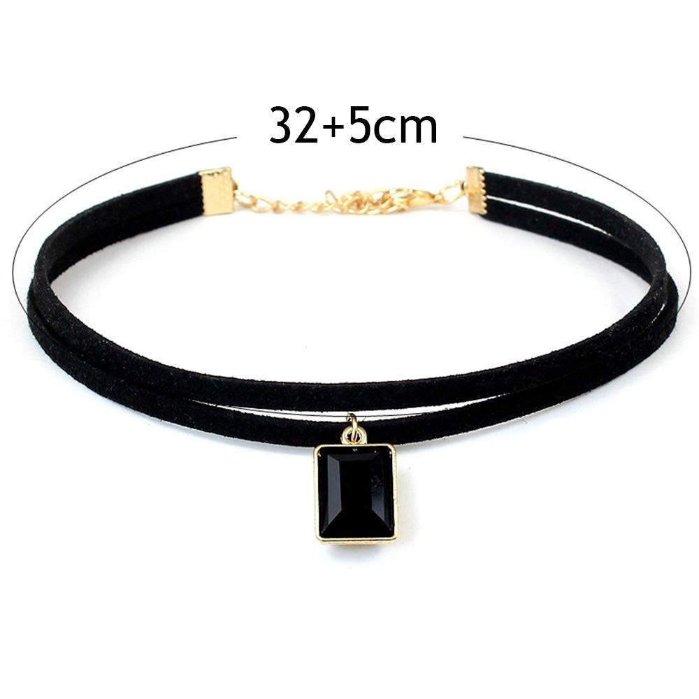 LIEJIE 1 Pieces Choker Necklace Set Stretch Velvet Classic Gothic Tattoo Lace Handmade Necklace for Women B