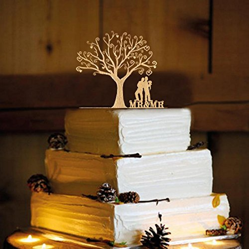 Rustic Wedding Cake Topper - Same Sex - gay WA2028 RB by Frog Studio