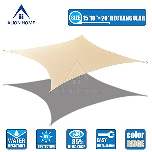 Alion Home 16×20 FT HDPE 180 GSM Sun Shade Sail – Beige Size 16 x 20 ft Rectangle