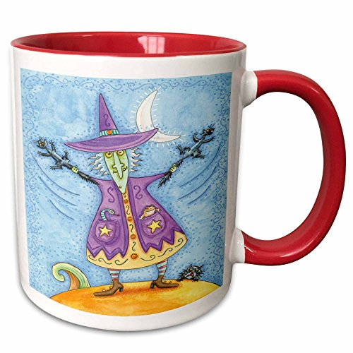 3dRose Anne Marie Baugh - Halloween - Halloween Witch With Screeching Cat In Each Hand Illustration - 15oz Two-Tone Red Mug (mug_216762_10)]()