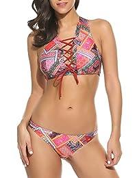 Avidlove Hot Women's Retro Swimsuit Lace Up Halter Padding Bikini